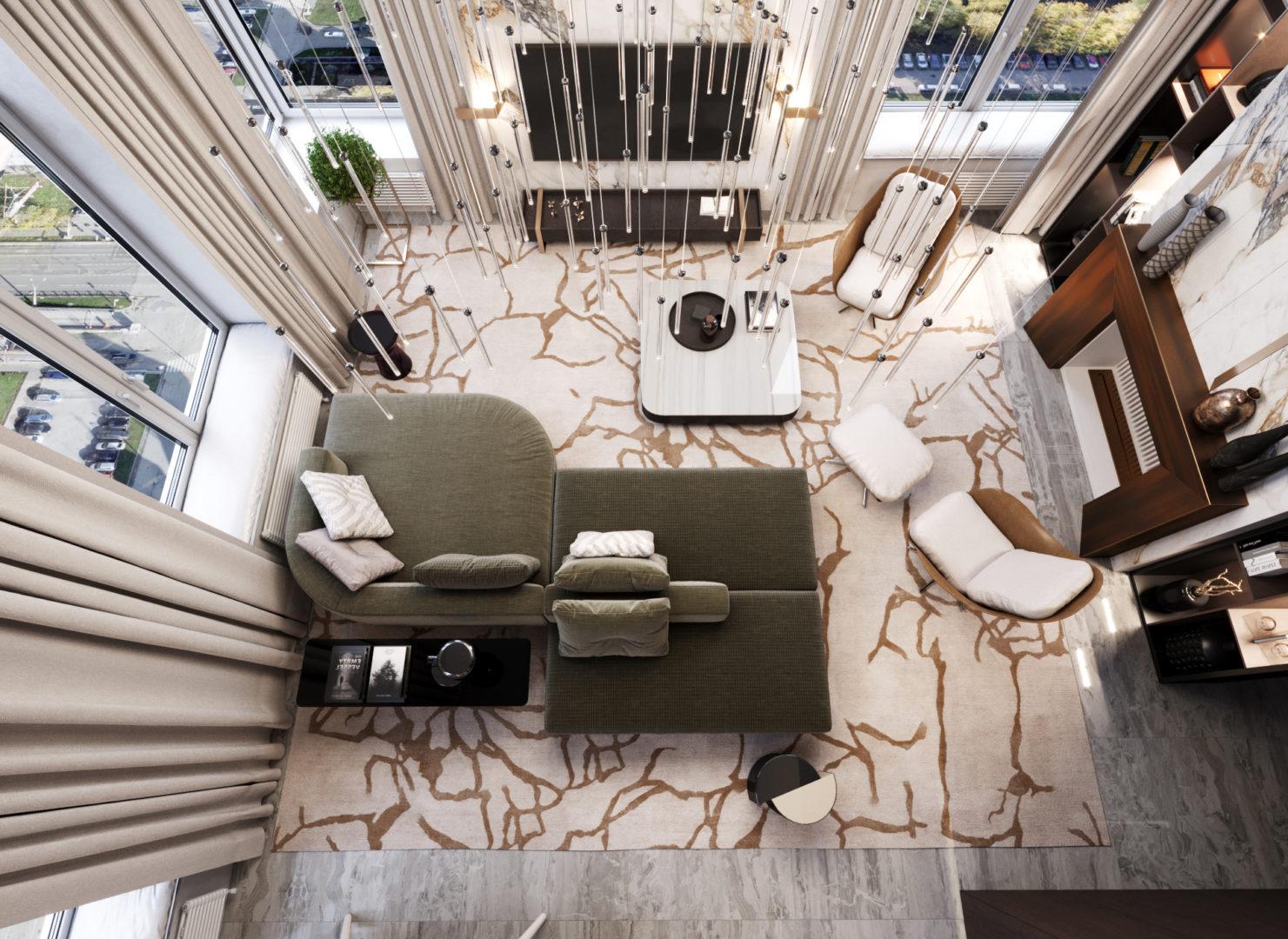 Гостиная, зона отдыха: вид сверху - вариант планировки лофта в ЖК Александровский сад