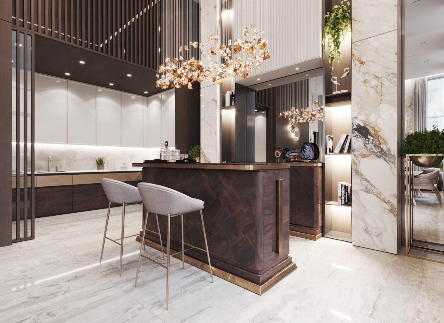 Барная стойка и кухня - вариант планировки лофта в ЖК Александровский сад
