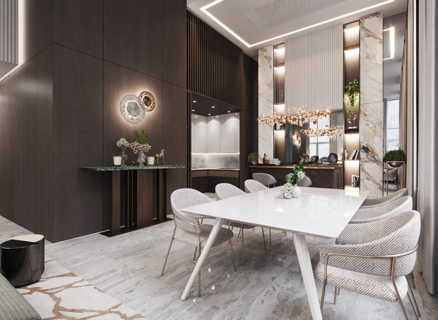 Обеденный стол - вариант планировки лофта в ЖК Александровский сад